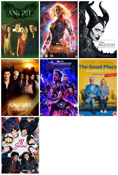 Bilder på de sju filmer/tv-serier jag sett i november (listas nedan)
