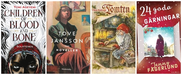Bild på de fyra titlar jag vill läsa: Solstenen; Noveller; Tomten; 24 goda gärningar