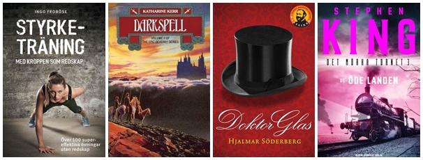 De fyra titlar jag vill läsa i februari: Styrketräning med kroppen som redskap; Darkspell; Doktor Glas och De öde landen.