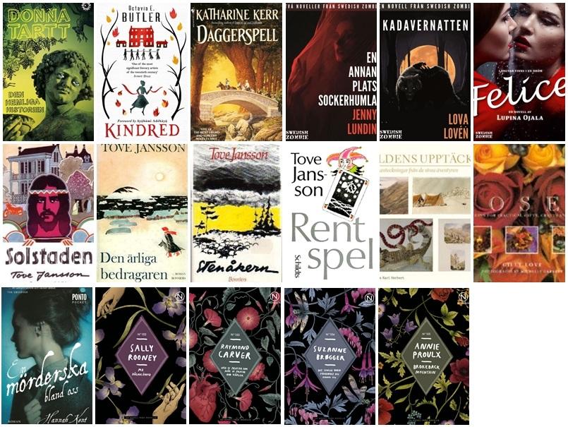 Kollage bestående av omslagen till de sjutton böcker jag har läst i januari