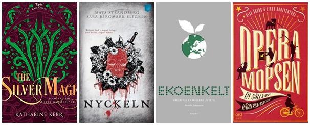 De fyra böcker jag särskilt vill läsa i mars: The Silver Mage; Nyckeln; Ekoenkelt; Operamopsen
