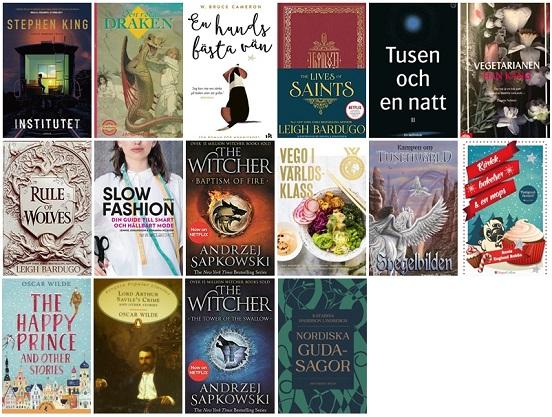 Bild på de 16 böcker jag har läst i maj 2021.