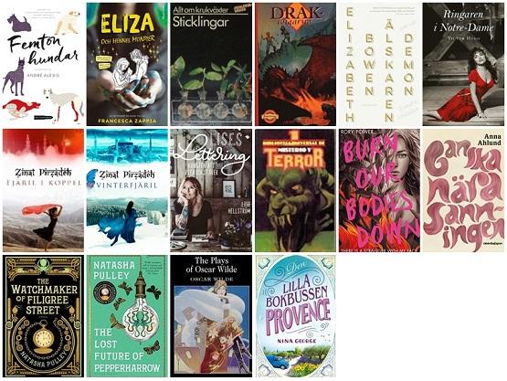 Omslagsbilder för de 16 böcker jag har läst i juli