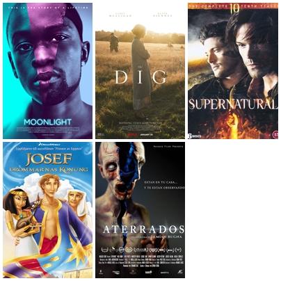 Omslagsbilder för de fem filmer jag sett i juli